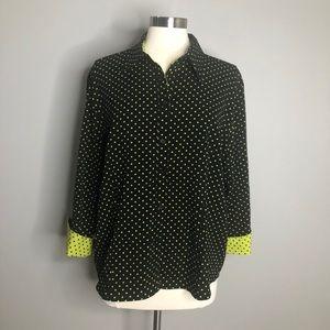 Apparenza black w/ yellow polka dot shirt
